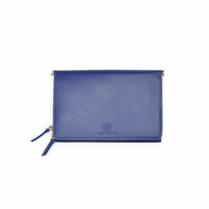 Taku_and_Grace_Leather_Convertible_clutch_bag_blueprint_navy_front_view