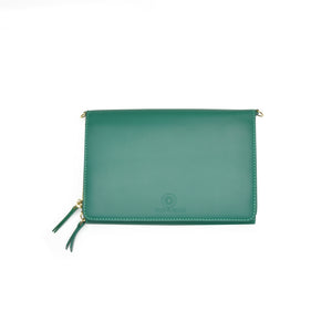 Taku_and_Grace_Leather_Convertible_clutch_bag_evergreen_open_view