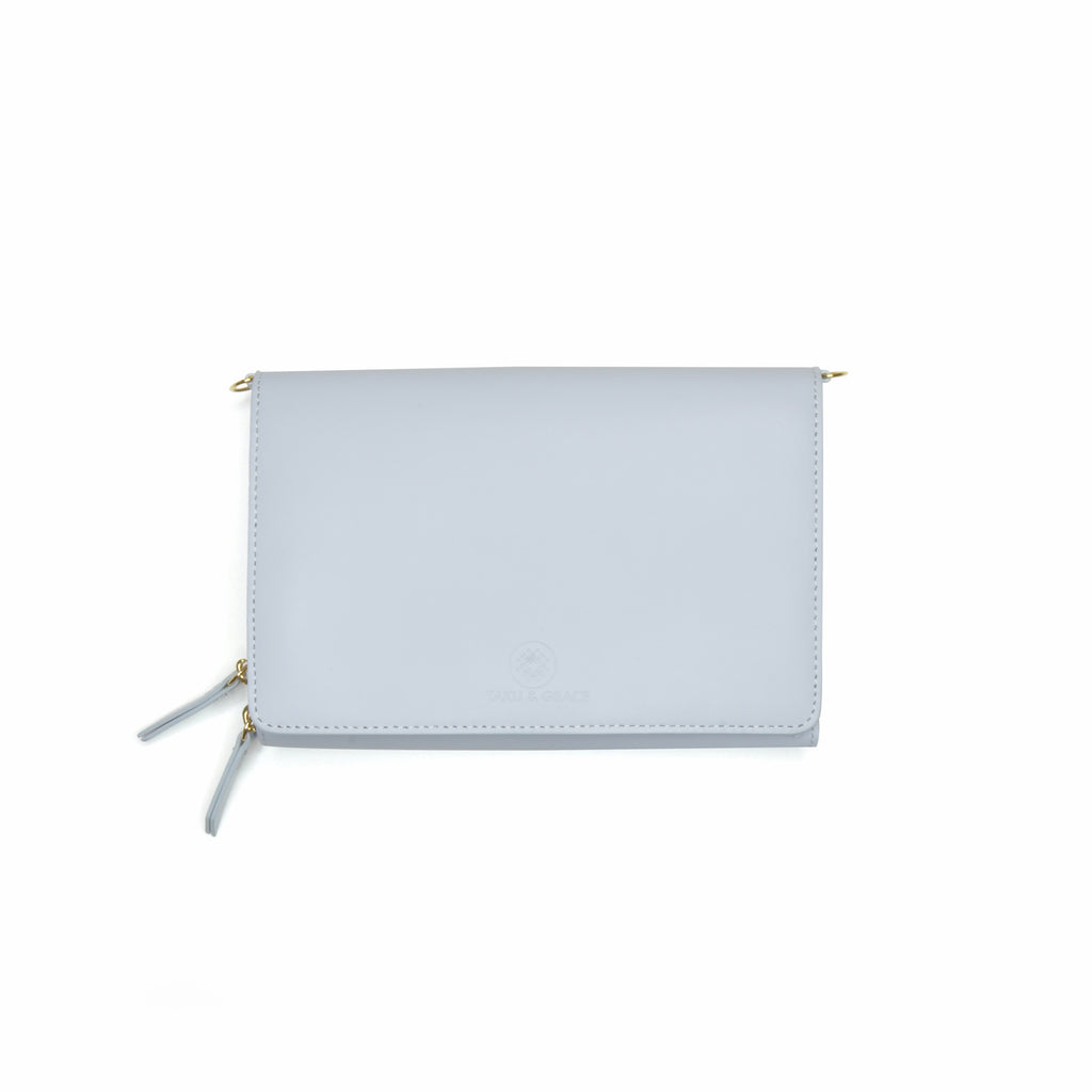 Taku_and_Grace_Leather_Convertible_clutch_bag_dawn_gray_front_view