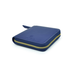 Taku_and_Grace_Leather_Zip_Wallet_Miyake_blueprint_navy_side_view