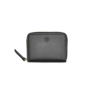 Taku_and_Grace_Leather_Zip_Wallet_Moto_mini_black_navy_lining_front_view