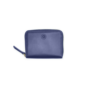 Taku_and_Grace_Leather_Zip_Wallet_Moto_mini_blueprint_navy_berry_lining_front_view