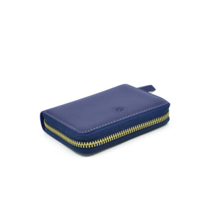 Taku_and_Grace_Leather_Zip_Wallet_Moto_mini_blueprint_navy_berry_lining_side_view
