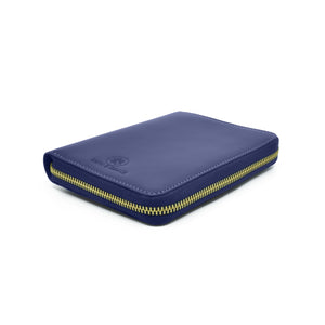 Taku_and_grace_leather_travel_zip_wallet_Yama_blueprint_navy_side