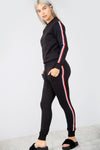Long Sleeve Side Stripe Lounge Wear Coord - bejealous-com