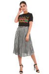 Metallic Silver High Waisted Pleated Midi Skirt - bejealous-com