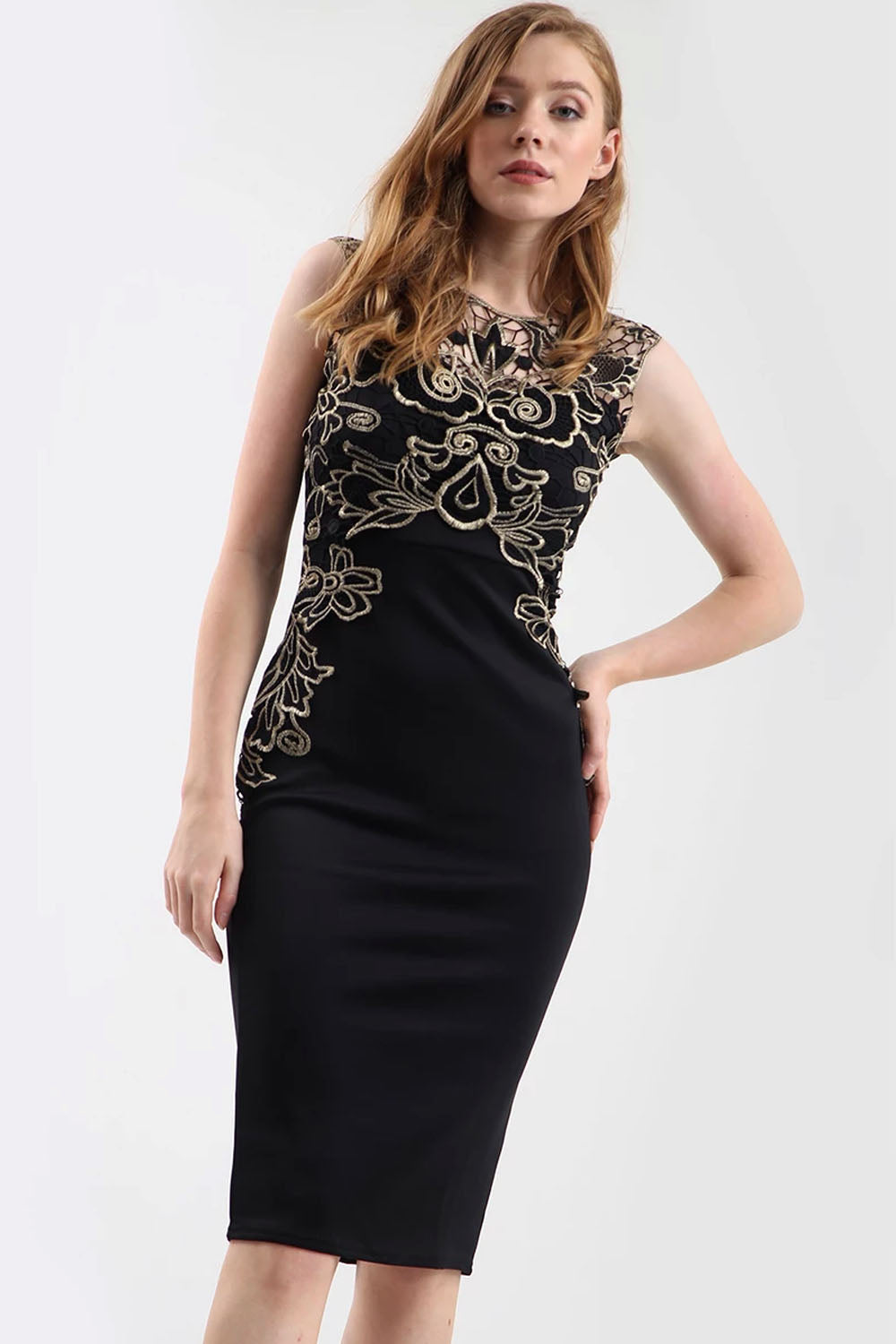 Gold Floral Lace Trim Black Midi Bodycon Dress - bejealous-com