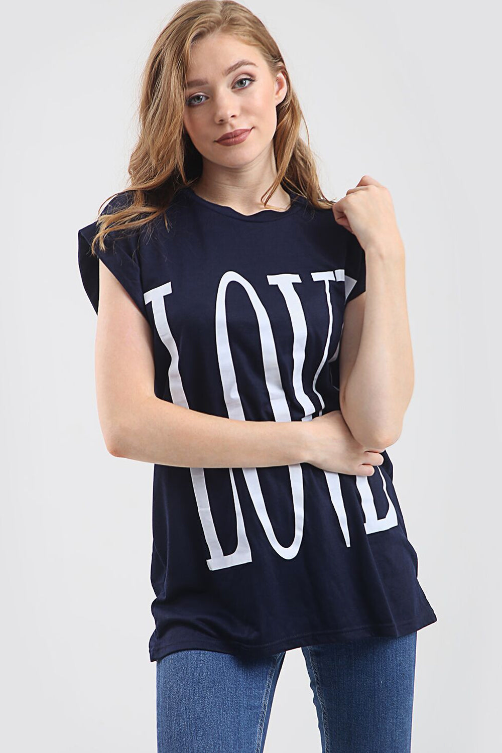 Love Slogan Print Oversized Roll Sleeve Tshirt - bejealous-com