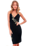 Strappy Bodycon Dress with Floral Trim in Black - bejealous-com