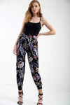 High Waist Harem Tropical Print Cuffed Pants - bejealous-com