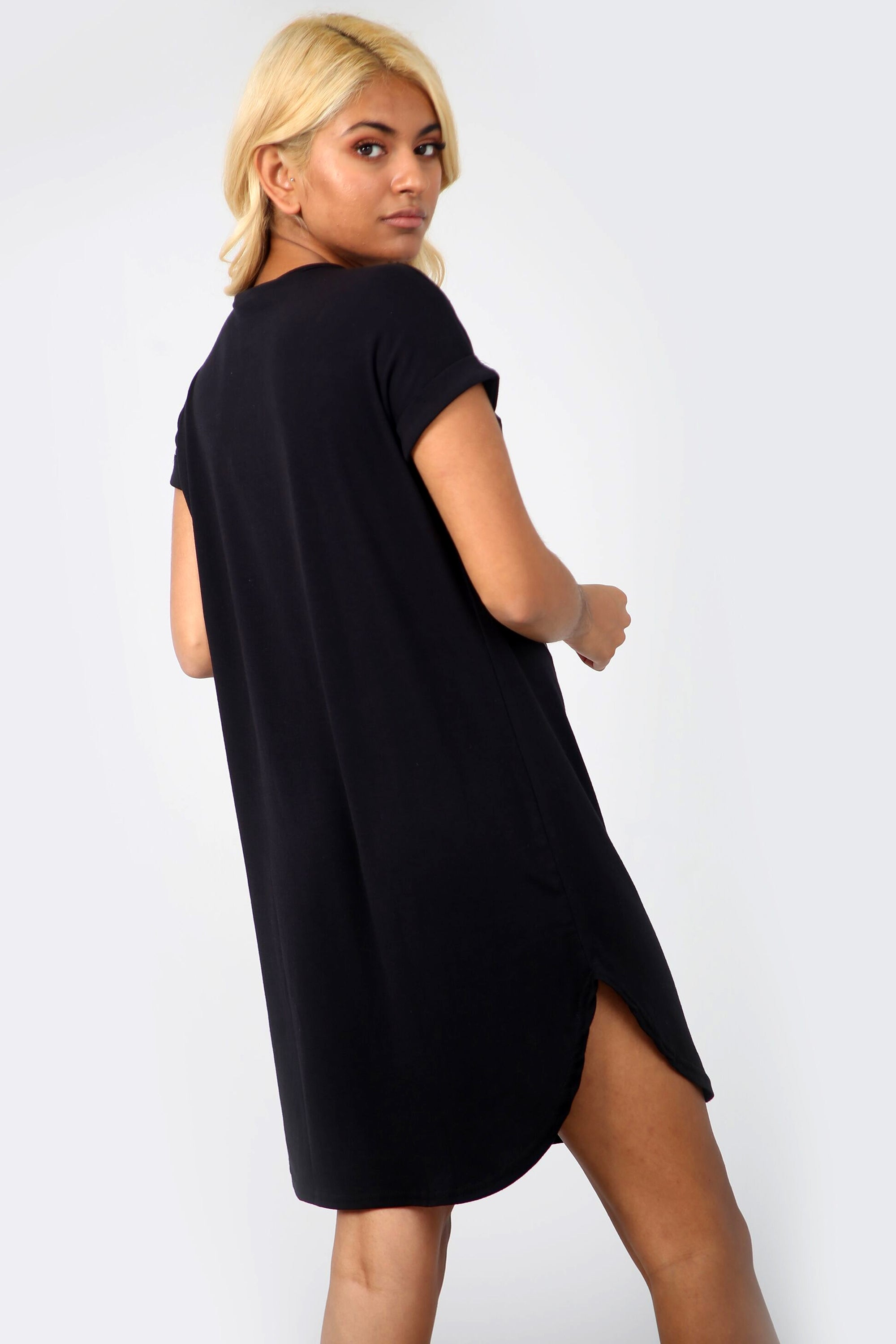 La Femme Slogan Curved Hem Tshirt Dress in Black - bejealous-com