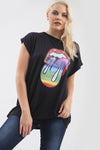 Rainbow Graphic Print Oversized Bat Wing Tshirt - bejealous-com