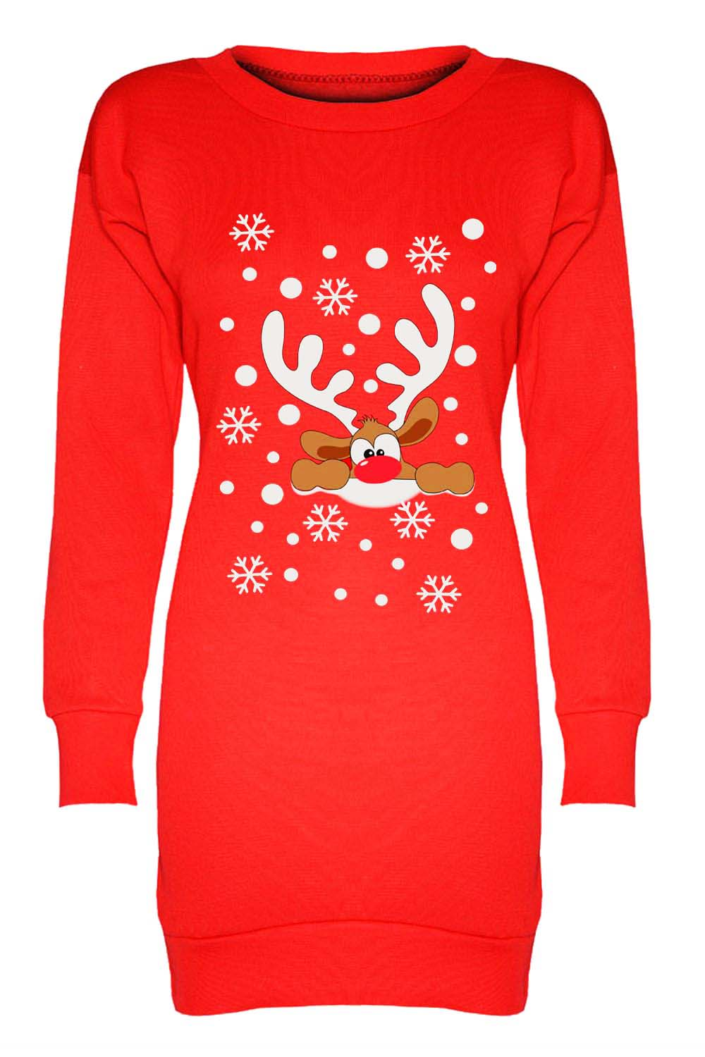 Reindeer Graphic Print Christmas Jumper Dress