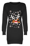 Reindeer Graphic Print Christmas Jumper Dress - bejealous-com