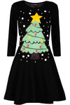 Long Sleeve Christmas Tree Swing Dress - bejealous-com