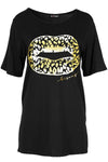 Amelia Gold Foil Lips Printed Baggy Oversized T Shirt