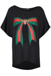 Graphic Print Bow Bat Wing Oversize Black Tshirt - bejealous-com