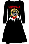 Christmas Pug Red Mini Swing Dress - bejealous-com