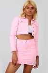 Raw Hem Pink Denim Mini Skirt Coord Set - bejealous-com