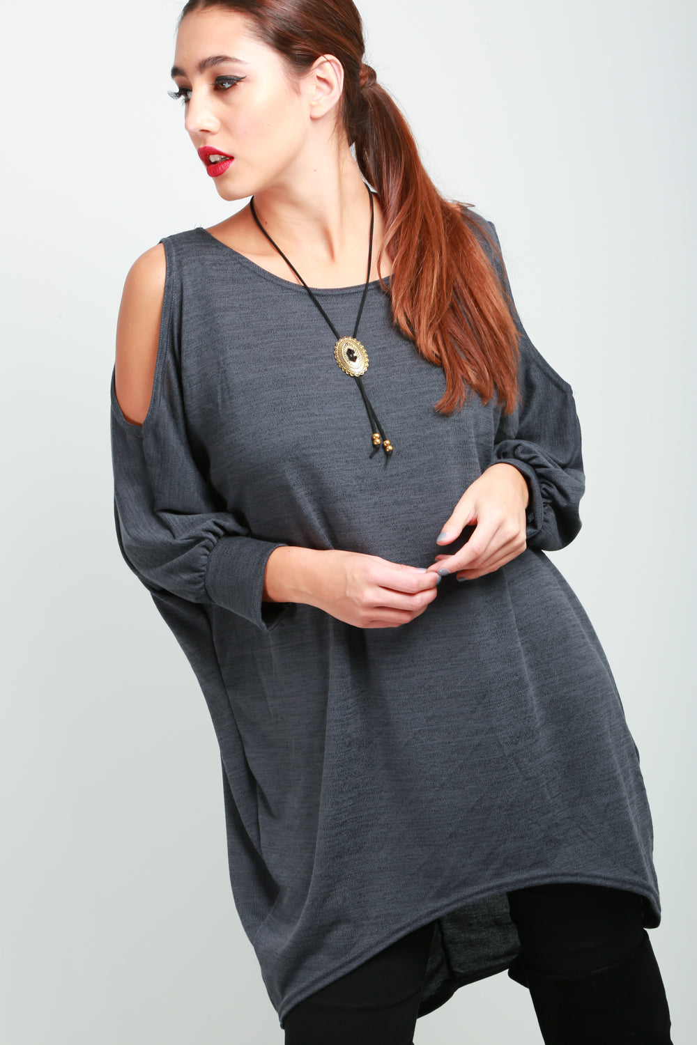 Charcoal Long Sleeve Cold Cut Shoulder Jumper - bejealous-com