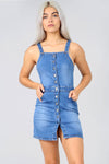 Denim Blue Button Front Cami Denim Dress - bejealous-com