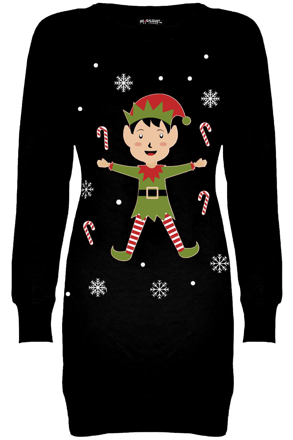 Long Sleeve Xmas Elf Print Jumper Dress - bejealous-com