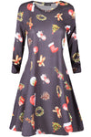 Emily Long Sleeve Christmas Print Swing Dress
