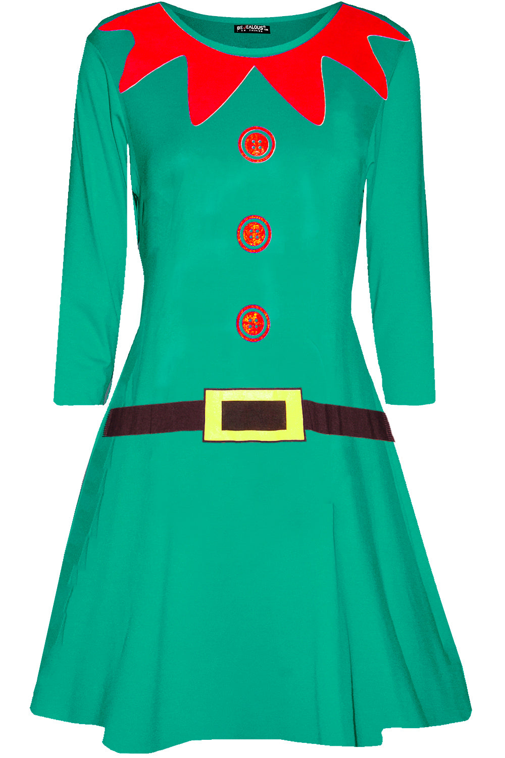 Long Sleeve Elf Print Mini Xmas Dress