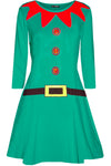 Long Sleeve Elf Print Mini Xmas Dress - bejealous-com