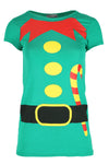 Christmas Elf Graphic Print Cap Sleeve Tshirt