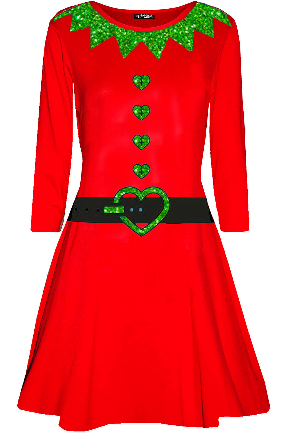 Long Sleeve Christmas Elf Red Dress - bejealous-com