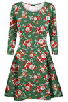 Lily Long Sleeve Christmas Print Swing Dress