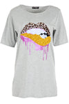 Lily Glitter Biting Leopard Lips Printed Baggy Oversized T Shirt