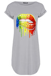 Lily Rainbow Biting Lips Oversized Curved Hem Mini Tee Dress