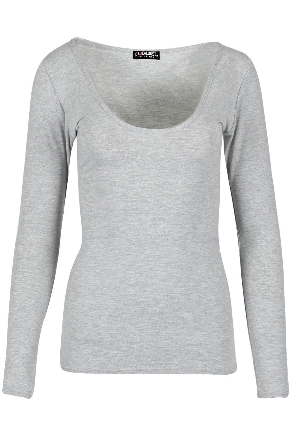 Aria Scoop Neck Long Sleeve Plain T Shirt