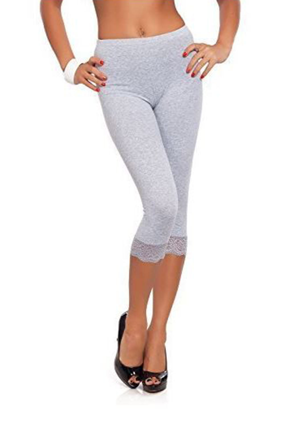 Mia Cropped Lace Trim Jersey Leggings