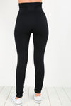 High Waist Stretch Fit Basic Black Leggings - bejealous-com