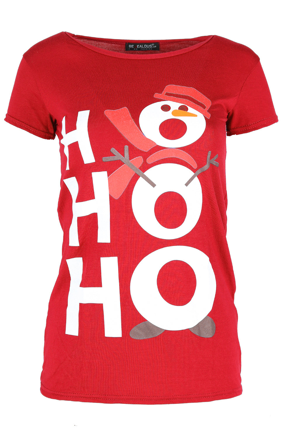 'Hohoho' Snowman Print Blue Christmas Top