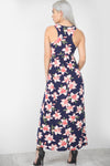 Racer Back Gold Floral Print Slinky Maxi Dress - bejealous-com