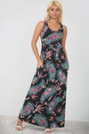 Floral Print Navy Maxi Dress With Pockets - bejealous-com