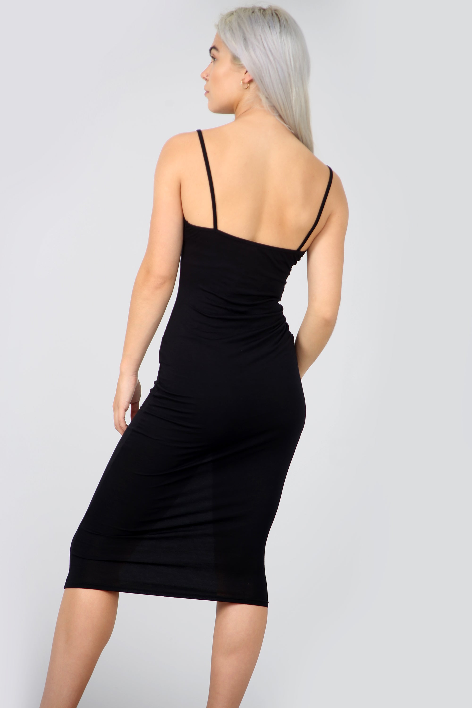 Charcoal Grey Strappy Basic Midi Bodycon Dress - bejealous-com