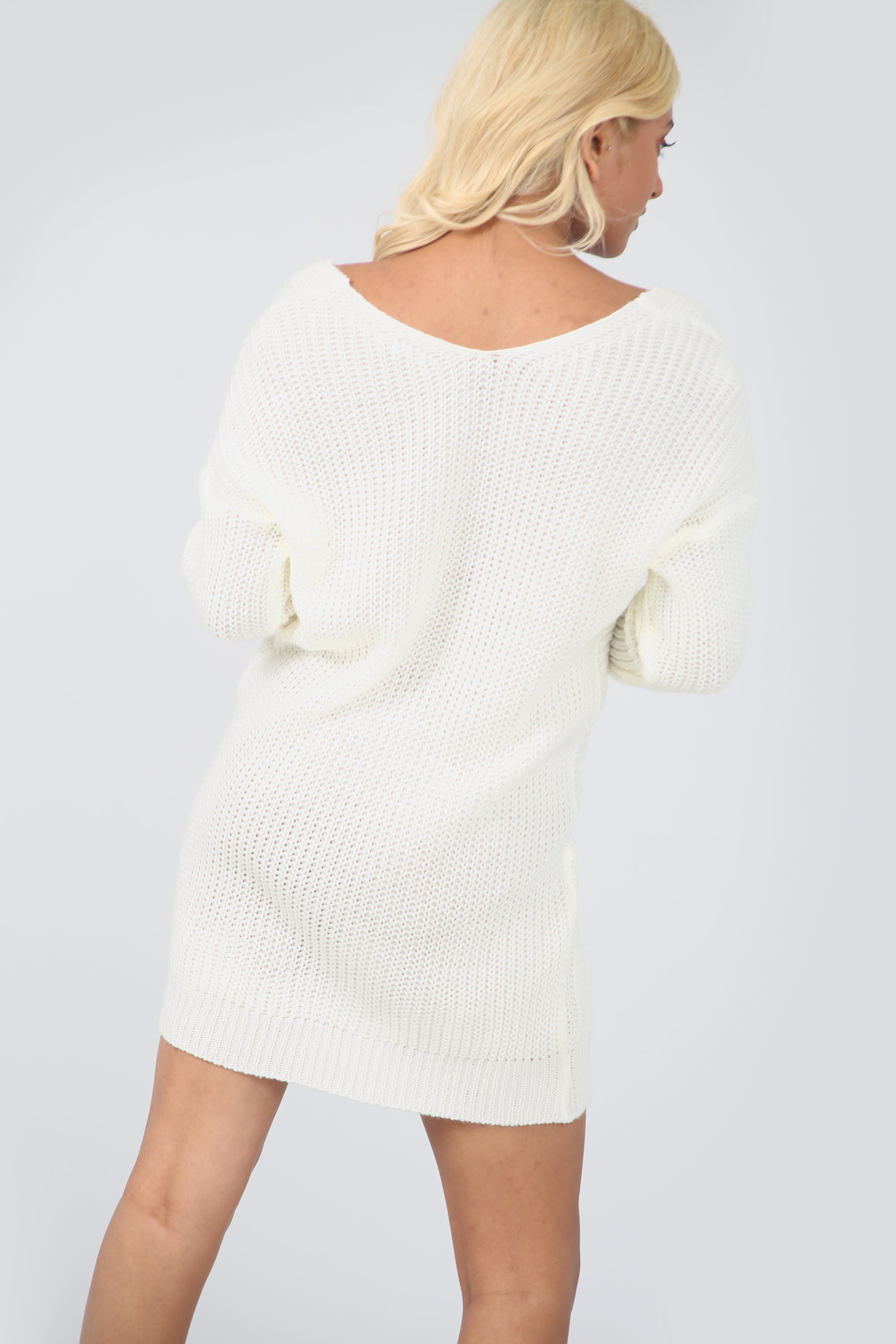 Twist Front Cream Oversize Knitted Jumper Dress - bejealous-com