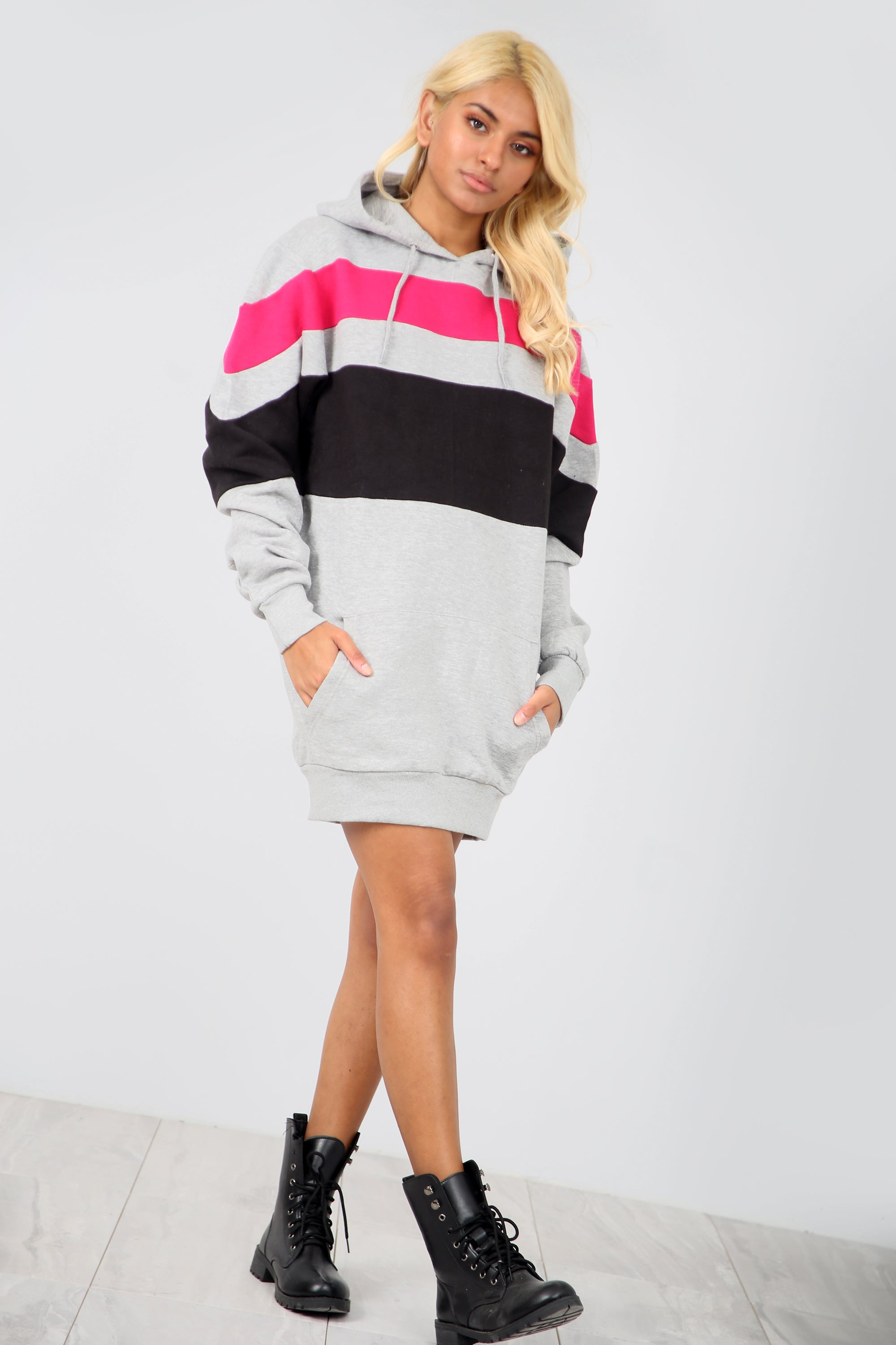 Long Sleeve Striped Sweatshirt Dress - bejealous-com