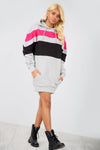 Grey Contrast Striped Oversize Sweatshirt Dress - bejealous-com