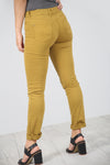 High Waist Slim Leg Mustard Chino Trousers - bejealous-com