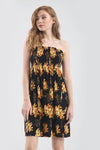 Sheering Bardot Yellow Floral Mini Swing Dress - bejealous-com