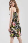 Strapless Tropical Print Slinky Mini Swing Dress - bejealous-com