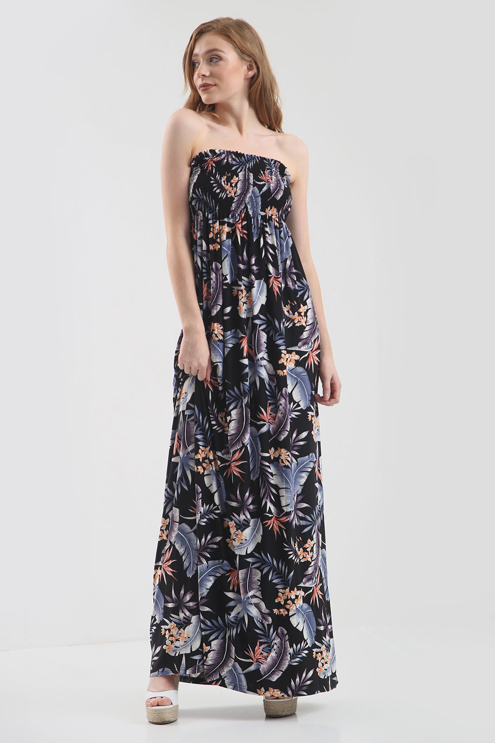 Tropical Print Bardot Black Maxi Dress - bejealous-com