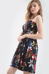Tropical Print Bardot Mini Swing Dress - bejealous-com