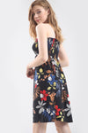Tropical Print Black Bardot Mini Swing Dress - bejealous-com
